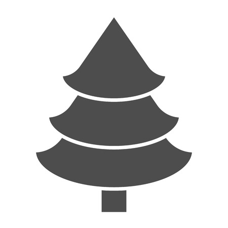 Fir tree solid icon. Christmas tree vector illustration isolated on white. Spruce glyph style design, designed for web and app. Illusztráció