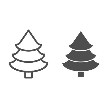 Fir tree line and glyph icon. Christmas tree vector illustration isolated on white. Spruce outline style design, designed for web and app.