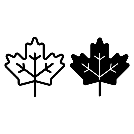 Maple leaf line and glyph icon. Canadian sign vector illustration isolated on white. Plant outline style design, designed for web and app