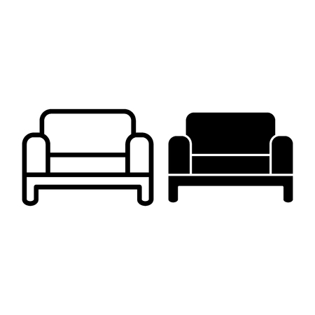 Sofa line and glyph icon. Couch vector illustration isolated on white. Living room furniture outline style design, designed for web and app. Vector Illustration
