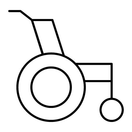 Wheelchair thin line icon. Wheelchair for disabled vector illustration isolated on white. Disability outline style design, designed for web and app. Eps 10