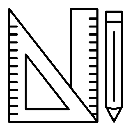 Triangle ruler, ruler and pencil thin line icon. Measure vector illustration isolated on white. Geometry ruler and pencil outline style design, designed for web and app.