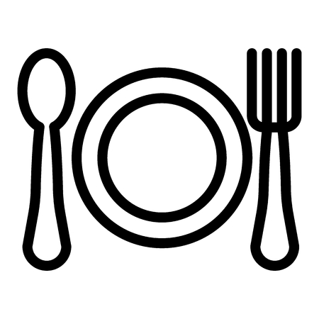 Plate, spoon and fork line icon. Restaurant vector illustration isolated on white. Cutlery outline style design, designed for web and app  イラスト・ベクター素材