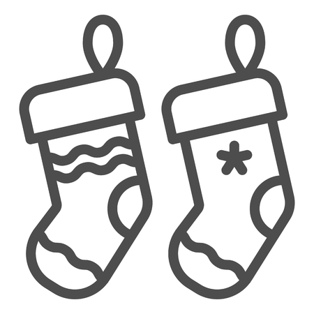 Christmas socks line icon. Two stuffer socks vector illustration isolated on white. Christmas stocking outline style design, designed for web and app.  イラスト・ベクター素材