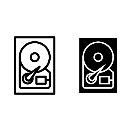 Winchester line and glyph icon. Hard drive vector illustration isolated on white. Hard disk outline style design, designed for web and app. 일러스트