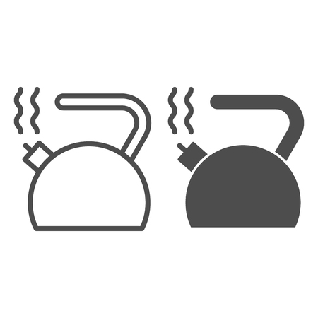 Kettle line and glyph icon. Teakettle vector illustration isolated on white. Teapot outline style design, designed for web and app. Stock Illustratie