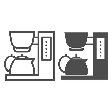 Coffee maker line and glyph icon. Coffee machine vector illustration isolated on white. Equipment outline style design, designed for web and app.