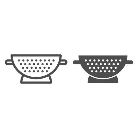 Sieblinie und Glyphensymbol. Siebvektorillustration lokalisiert auf Weiß. Sifter Outline Style Design, entwickelt für Web und App. Vektorgrafik