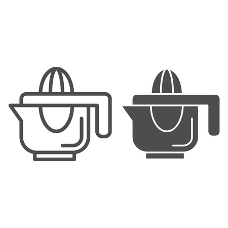 Hand juicer line and glyph icon. Juice squeezer vector illustration isolated on white. Citrus juicer outline style design, designed for web and app. Illustration