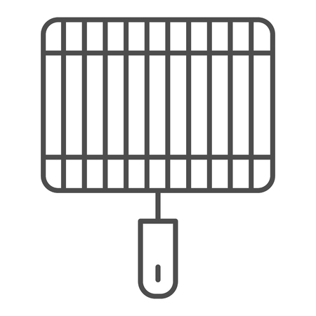 Grill thin line icon. Barbecue vector illustration isolated on white. Fryer outline style design, designed for web and app