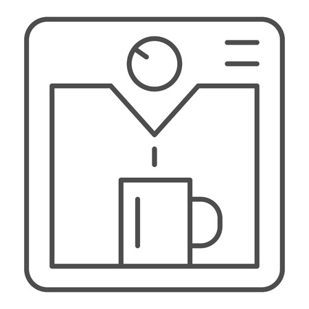 Coffee machine thin line icon. Household vector illustration isolated on white. Coffee maker outline style design, designed for web and app. Eps 10 Vectores