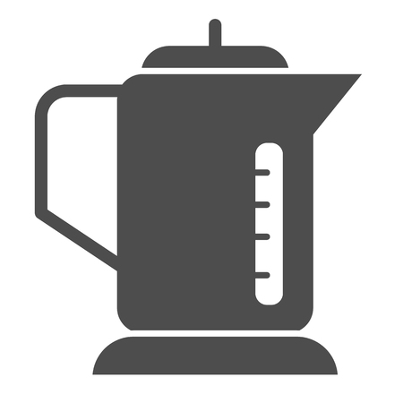 Electric kettle solid icon. Utensil vector illustration isolated on white. Teapot glyph style design, designed for web and app Ilustrace