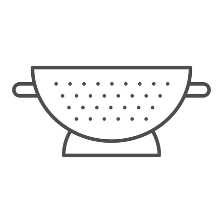 Sieve thin line icon. Colander vector illustration isolated on white. Sifter outline style design, designed for web and app