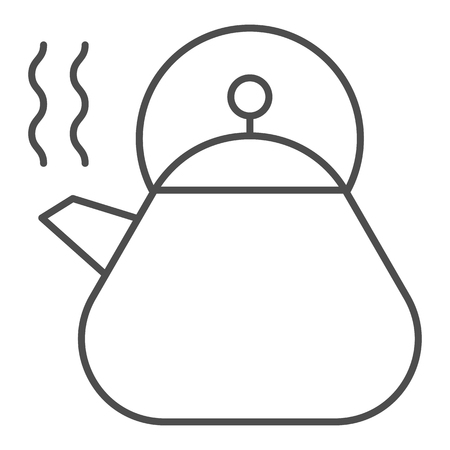 Kettle thin line icon. Appliance vector illustration isolated on white. Teapot outline style design, designed for web and app.