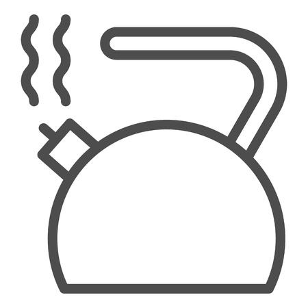 Waterkoker lijn pictogram. Waterkoker vectorillustratie geïsoleerd op wit. Theepot schets stijl ontwerp, ontworpen voor web en app. Eps 10