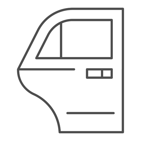 Car door thin line icon. Car element vector illustration isolated on white. Auto door outline style design, designed for web and app. Archivio Fotografico - 111825085