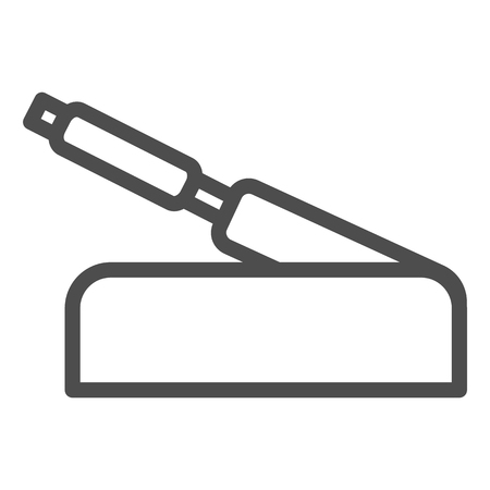 Handbrake line icon. Car brake handle vector illustration isolated on white. Automobile stop outline style design, designed for web and app. Illustration