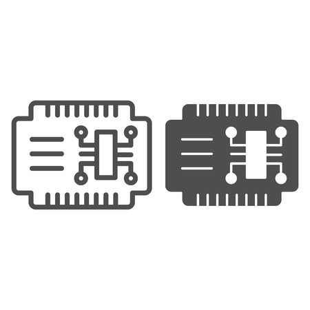 Microcircuit line and glyph icon. Car electronics vector illustration isolated on white. Automobile circuit outline style design, designed for web and app.