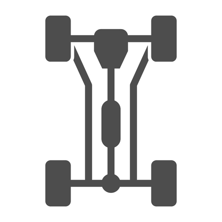 Chassis car solid icon. Car wheels vector illustration isolated on white. Automobile part glyph style design, designed for web and app. 版權商用圖片
