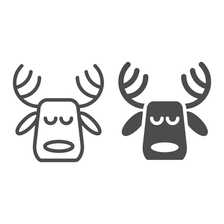 Horned deer line and glyph icon. Christmas deer vector illustration isolated on white. Moose head outline style design, designed for web and app. Eps 10
