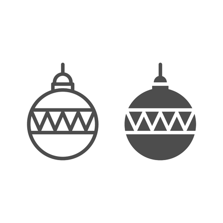 Christmas ball line and glyph icon. Christmas tree decoration vector illustration isolated on white. Tree toy outline style design, designed for web and app. Eps 10