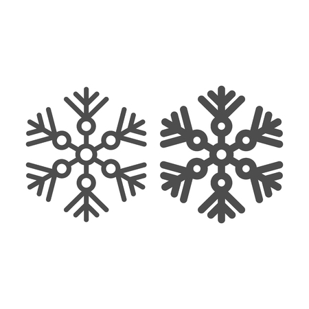 Snowflake line and glyph icon. Snow vector illustration isolated on white. Crystal outline style design, designed for web and app. Eps 10 Çizim