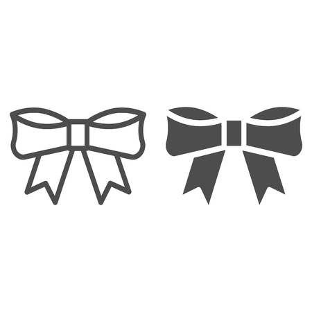 Bow line and glyph icon. Knot vector illustration isolated on white. Ribbon bow outline style design, designed for web and app. Eps 10