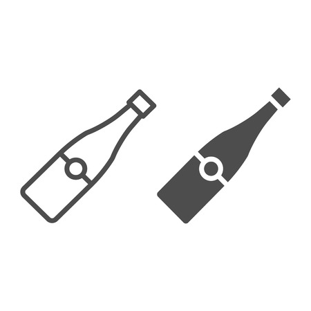 Champagne bottle line and glyph icon. Alcohol vector illustration isolated on white. Wine outline style design, designed for web and app. Eps 10