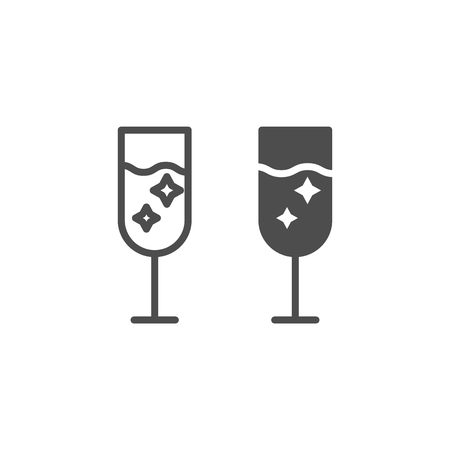 Champagne glass line and glyph icon. Glass of alcohol vector illustration isolated on white. Sparkling drink outline style design, designed for web and app. Eps 10 Çizim