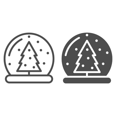 Snow globe line and glyph icon. Glass ball vector illustration isolated on white. Crystal sphere outline style design, designed for web and app. Eps 10