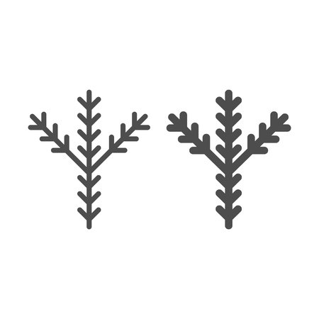 Fir tree branch line and glyph icon. Pine vector illustration isolated on white. Evergreen outline style design, designed for web and app. Eps 10