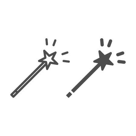 Magic wand line and glyph icon. Star on stick vector illustration isolated on white. Miracle outline style design, designed for web and app. Eps 10 Çizim