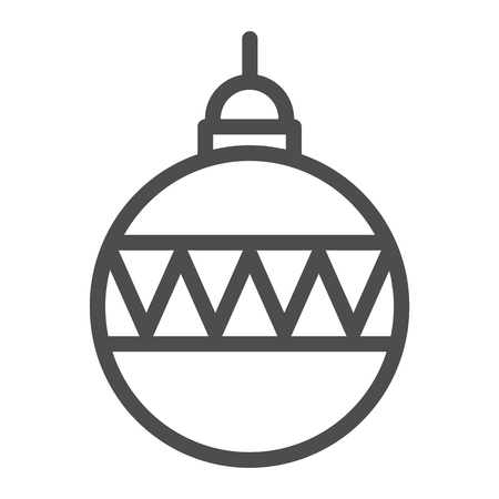 Christmas ball line icon. Christmas tree decoration vector illustration isolated on white. Tree toy outline style design, designed for web and app. Eps 10