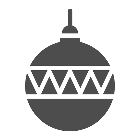 Christmas ball solid icon. Christmas tree decoration vector illustration isolated on white. Tree toy glyph style design, designed for web and app. Eps 10