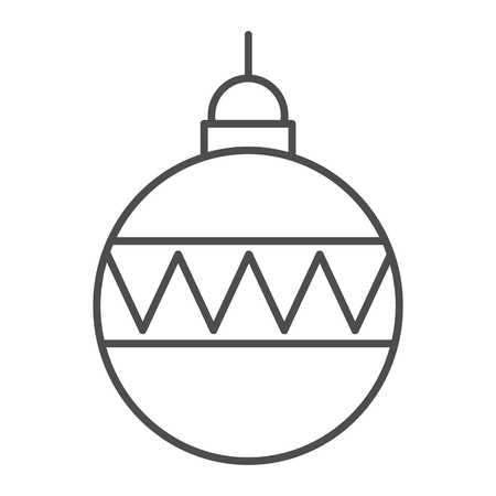 Christmas ball thin line icon. Christmas tree decoration vector illustration isolated on white. Tree toy outline style design, designed for web and app. Eps 10