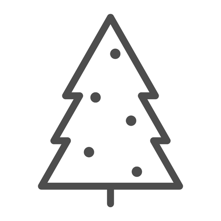 Christmass tree line icon. Fir-tree vector illustration isolated on white. Xmas decoration outline style design, designed for web and app. Eps 10 Çizim