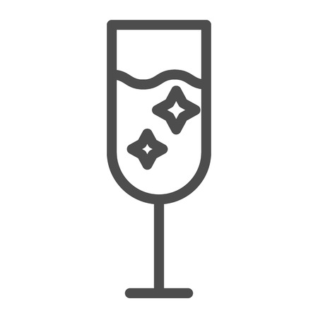 Champagne glass line icon. Glass of alcohol vector illustration isolated on white. Sparkling drink outline style design, designed for web and app. Eps 10 Çizim