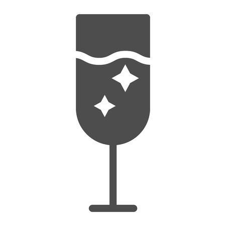 Champagne glass solid icon. Glass of alcohol vector illustration isolated on white. Sparkling drink glyph style design, designed for web and app. Eps 10