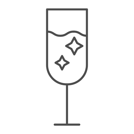 Champagne glass thin line icon. Glass of alcohol vector illustration isolated on white. Sparkling drink outline style design, designed for web and app. Eps 10
