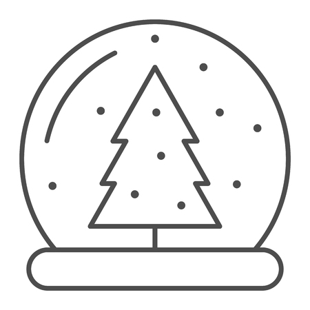 Snow globe thin line icon. Glass ball vector illustration isolated on white. Crystal sphere outline style design, designed for web and app. Eps 10 Çizim