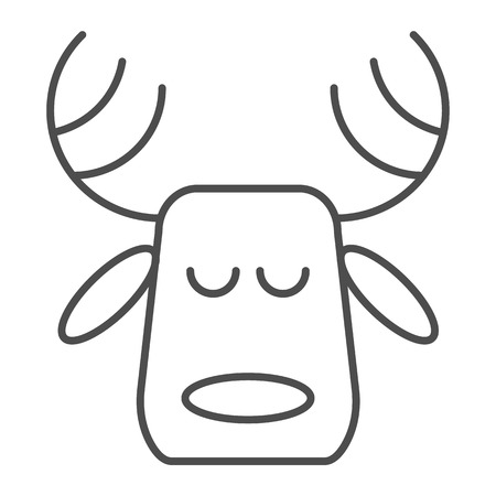 Horned deer thin line icon. Christmas deer vector illustration isolated on white. Moose head outline style design, designed for web and app. Eps 10 Çizim