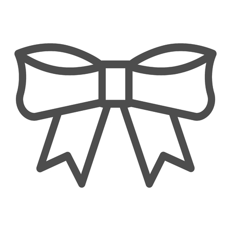Bow line icon. Knot vector illustration isolated on white. Ribbon bow outline style design, designed for web and app. Eps 10