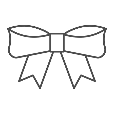 Bow thin line icon. Knot vector illustration isolated on white. Ribbon bow outline style design, designed for web and app. Eps 10