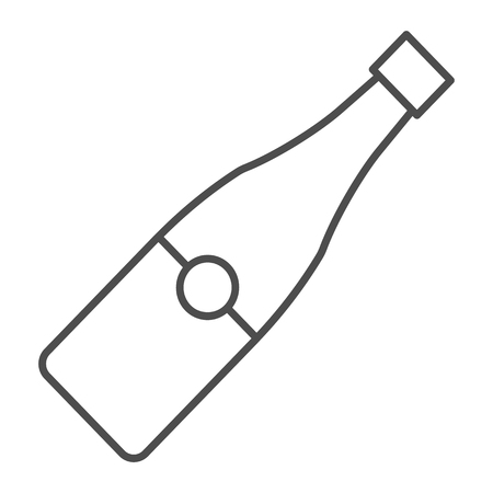Champagne bottle thin line icon. Alcohol vector illustration isolated on white. Wine outline style design, designed for web and app. Eps 10