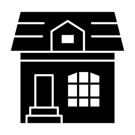 Attic cottage solid icon. House vector illustration isolated on white. Building glyph style design, designed for web and app. Ilustracja