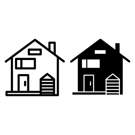 American family house line and glyph icon. House facade vector illustration isolated on white. Traditional american cottage outline style design, designed for web and app.