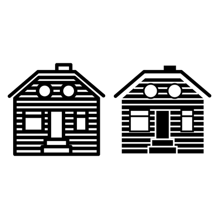 Wooden house line and glyph icon. Suburban family house vector illustration isolated on white. Wooden cottage outline style design, designed for web and app. Eps 10