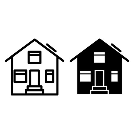 Suburban house line and glyph icon. House exterior vector illustration isolated on white. Cottage outline style design, designed for web and app. Eps 10