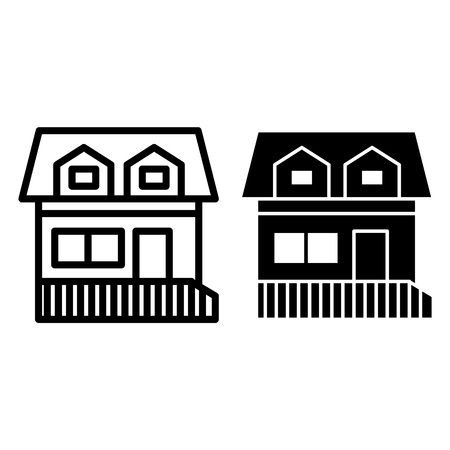 House with two mansard windows line and glyph icon. Cottage with attic vector illustration isolated on white. Home outline style design, designed for web and app. Vektorové ilustrace