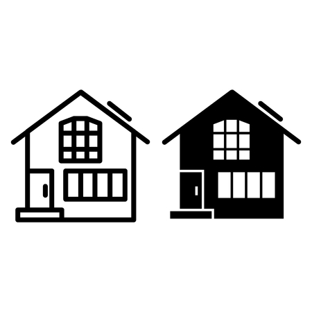 Suburban double decker house line and glyph icon. Gable roof house exterior vector illustration isolated on white. Cottage outline style design, designed for web and app. Eps 10 Çizim